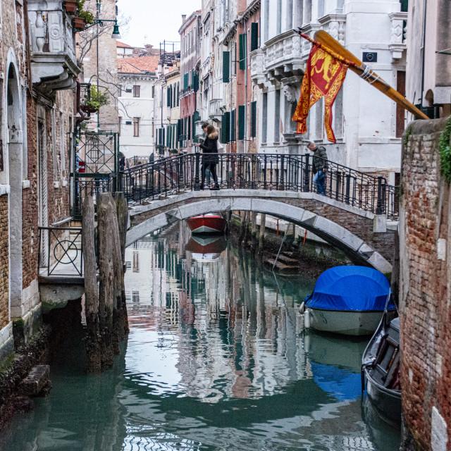 """Venetian Canal Bridge"" stock image"