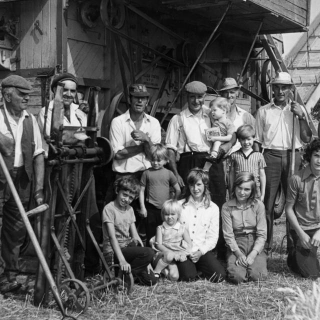 """Threshing Crew at Coates (1970s)"" stock image"