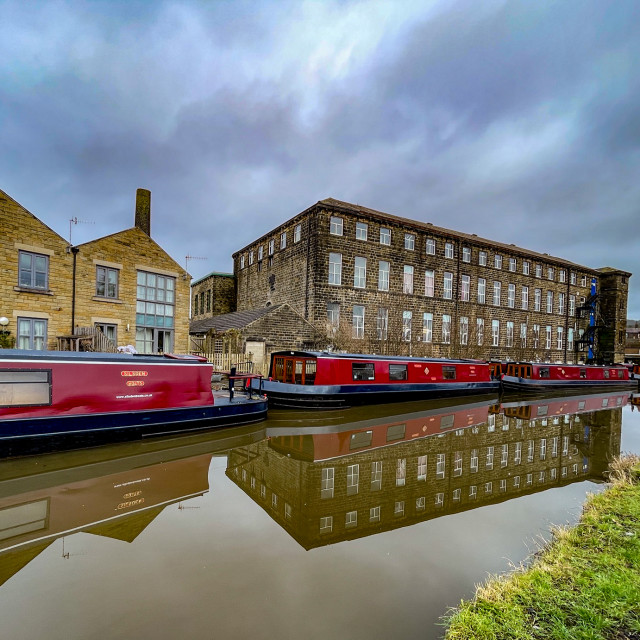 """""""Holiday Narrowboat/Barge Moored on the Leeds and Liverpool Canal at Silsden (Cobbydale) Yorkshire, England, Yorkshire, England,"""" stock image"""