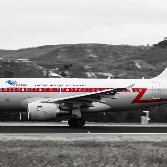 """Airbus A319 Iberia (Retro livery) EC-KKS"" stock image"