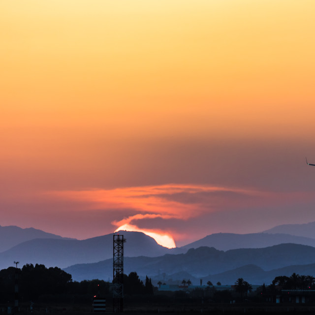 """""""Sunset at Alicante Airport"""" stock image"""