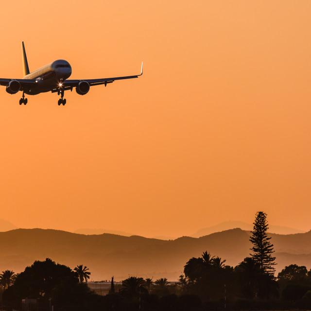 """""""Boeing B757 Jet2 landing at Alicante"""" stock image"""