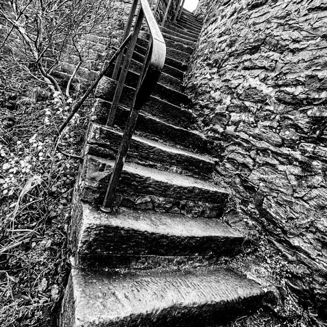 """""""Winding Stone Steps leading to The Leeds and Liverpool Canal Towpath at Silsden (Cobbydale) Yorkshire, England."""" stock image"""