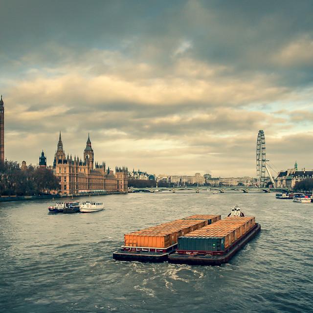 """River Thames barge"" stock image"