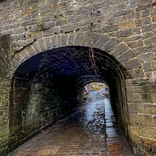 """""""Aqueduct no.46 under the Leeds Liverpool Canal at Silsden (Cobbydale) Yorkshire, England."""" stock image"""