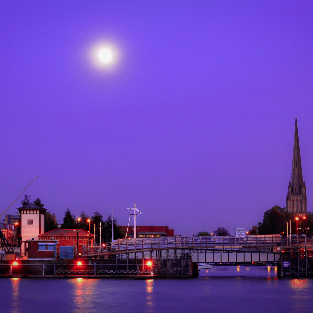"""""""Moon over Redcliffe"""" stock image"""