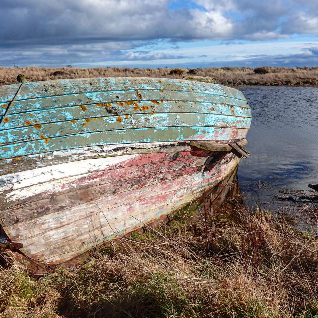 """""""Abandoned Boat, St Cyrus"""" stock image"""