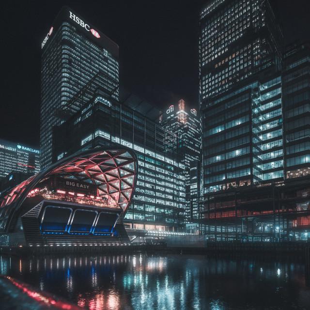 """Canary Wharf Nightscape"" stock image"