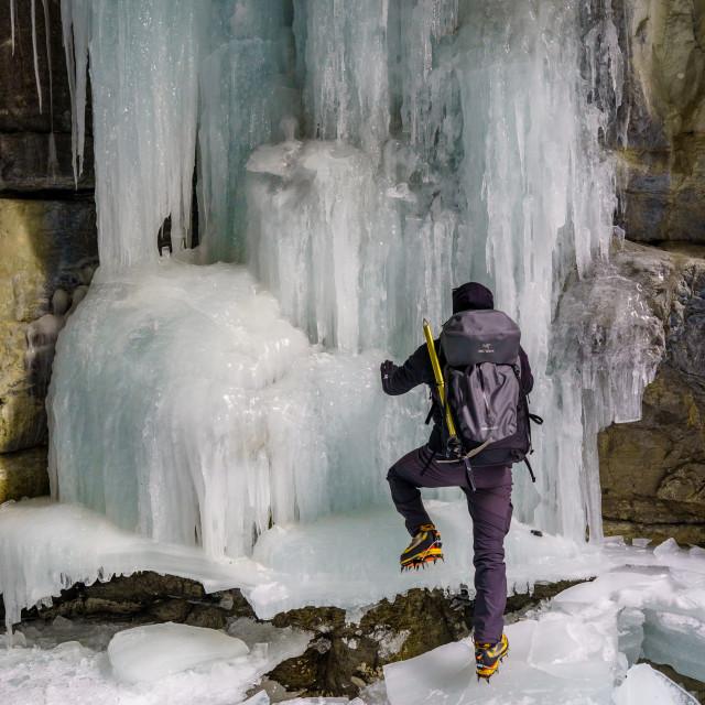 """Frozen Maligne"" stock image"