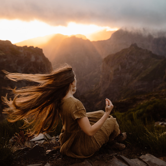 """""""Hair in the Wind in the Mountains"""" stock image"""