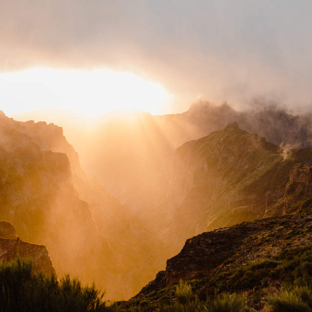"""""""Madeira Mountains Sunset In Fog"""" stock image"""
