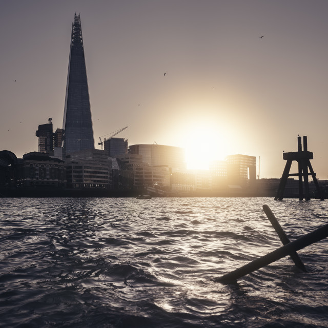 """""""Sunset, Shard by the Thames Shore, London"""" stock image"""
