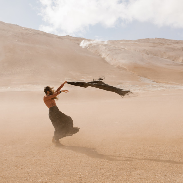 """""""Woman Scarf Blowing in Wind and Dust"""" stock image"""