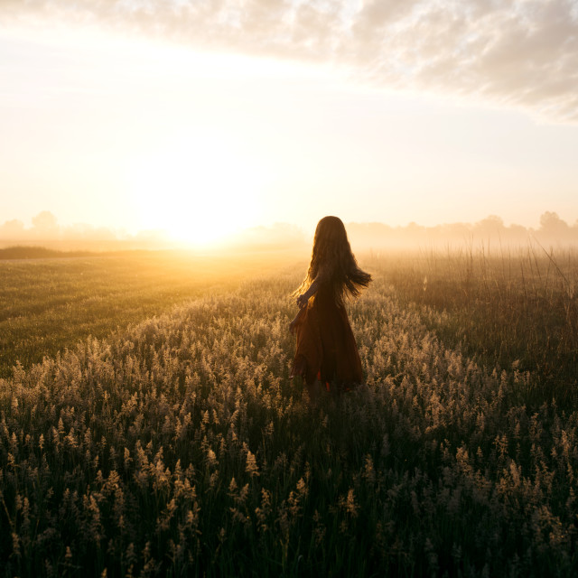"""""""Woman in Field at Sunrise"""" stock image"""