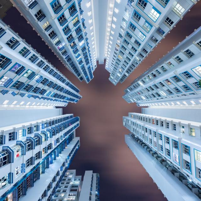 """Dense residential building at night, Kallang, Singapore"" stock image"