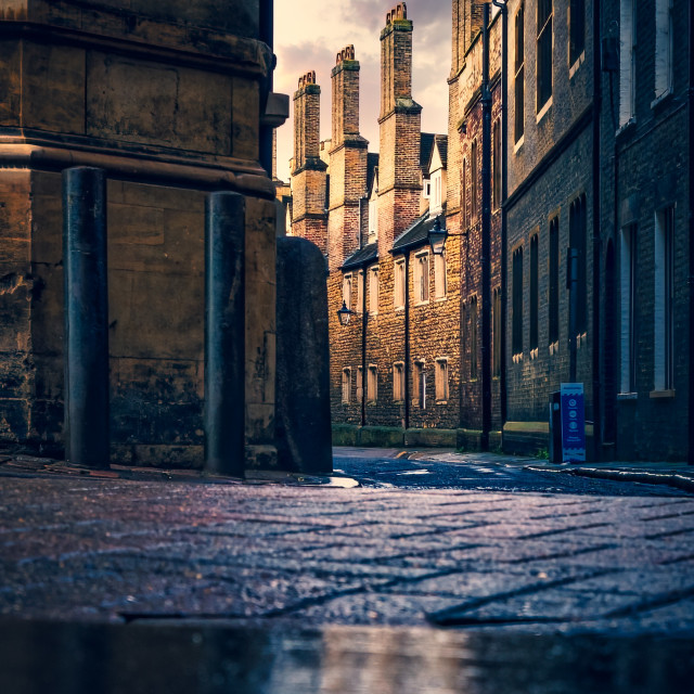 """Golden hour from Trinity Lane, Cambridge UK."" stock image"