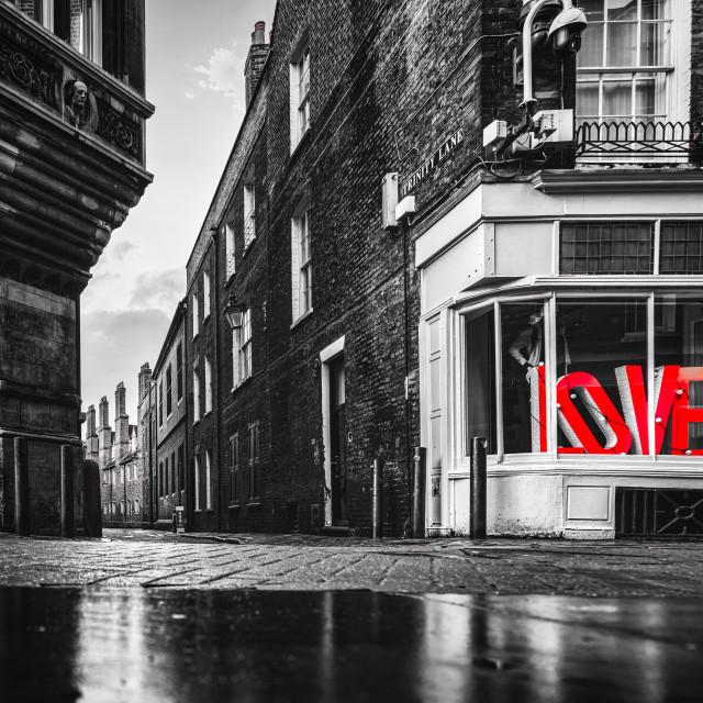 """Love from Trinity Lane, Cambridge UK."" stock image"