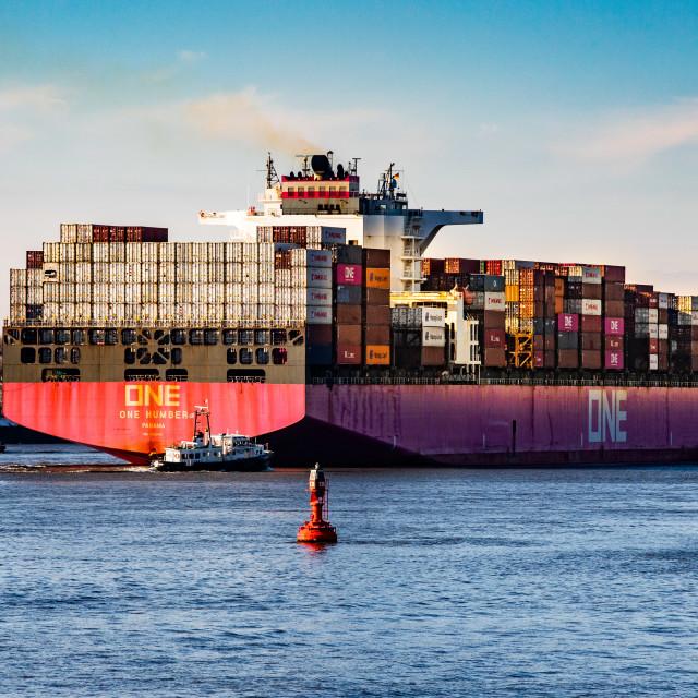 """Containerschiff One Humber auf der Elbe"" stock image"