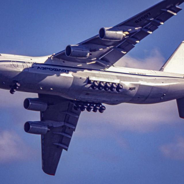 """Antonov AN-124 aircraft in flight"" stock image"