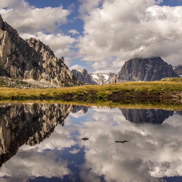 """Reflections on Passo Giau"" stock image"