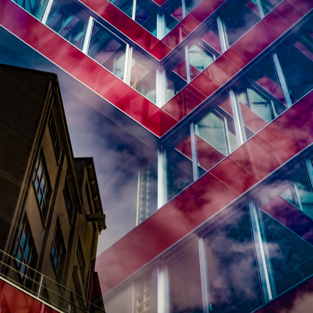 """""""""""Symbiosis III"""" - Reflections of buildings and clouds on glass"""" stock image"""