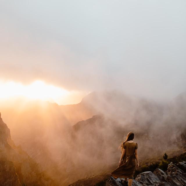 """""""Madeira Foggy Mountain Sunset"""" stock image"""