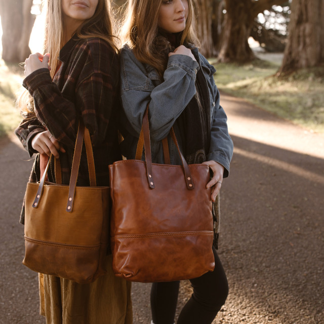 """""""Two Sisters Holding Leather Bags"""" stock image"""