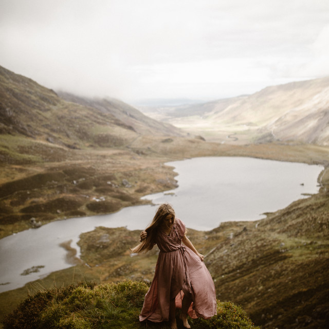 """""""Woman Barefoot in Mountains"""" stock image"""