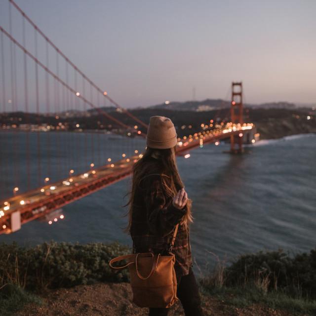 """Looking at Golden Gate Bridge At Twilight"" stock image"
