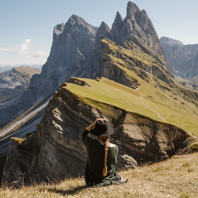 """""""Woman Looking at Mountains"""" stock image"""