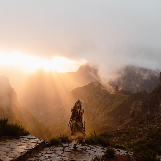 """Madeira Mountain Sunset Hike"" stock image"