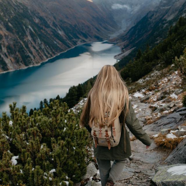"""Women Hiking Mountain Trail"" stock image"