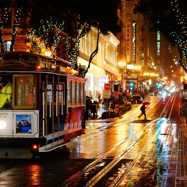 """Trolley & Rainy SF Streets"" stock image"