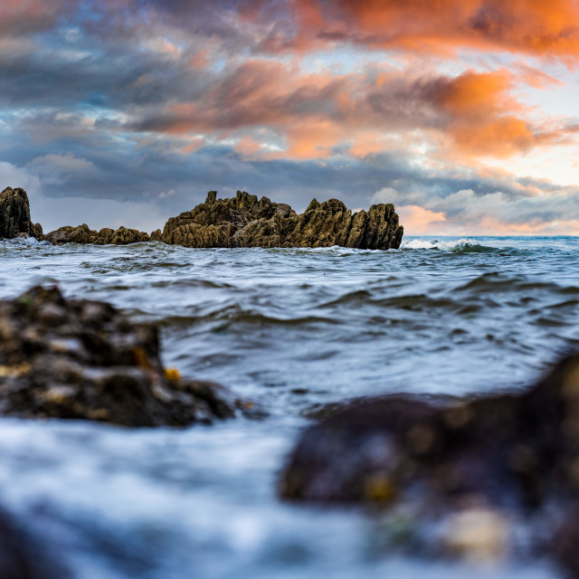 """A choppy sea from Kingsand beach, Cornwall UK."" stock image"