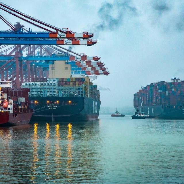"""Containerterminal Waltershof"" stock image"