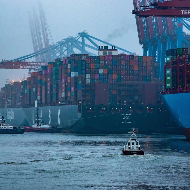 """Containerschiff Umm Qarn am Burchardkai"" stock image"