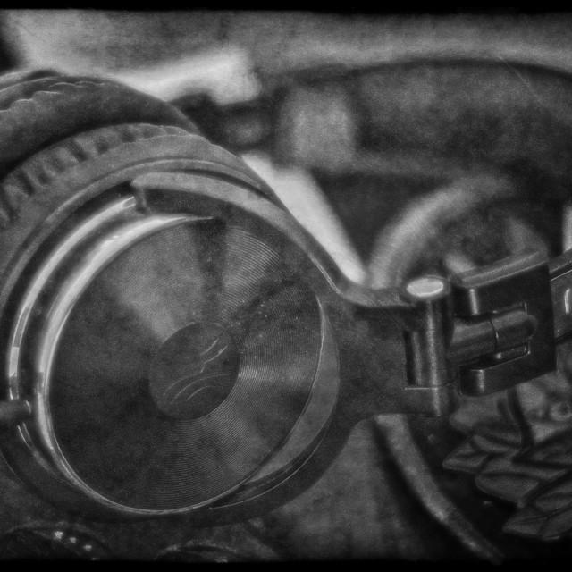 """""""Headphones - Black & White"""" stock image"""
