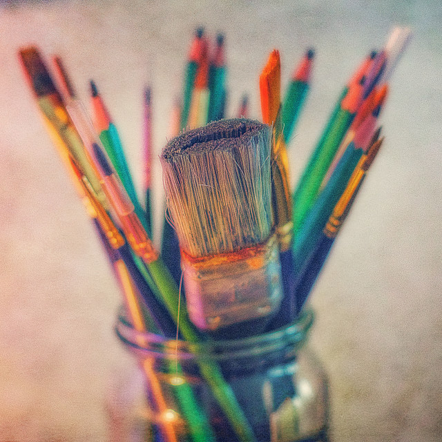 """""""Paint Brushes And Pencils"""" stock image"""