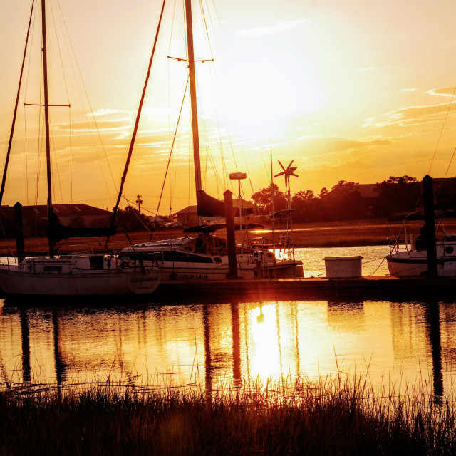 """""""Sunset from the dock of the bay"""" stock image"""