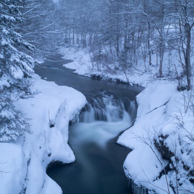 """Waterfall - Winter scene in Canada"" stock image"