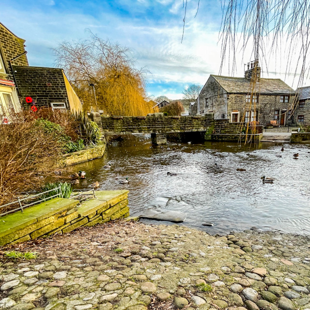 """""""Ford over The Beck, Silsden (Cobbydale) Yorkshire, England."""" stock image"""