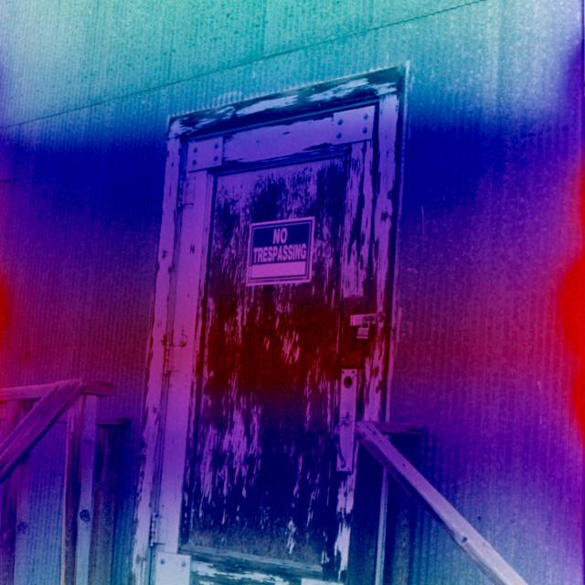 """""""Film Heat Error, Weathered Door"""" stock image"""