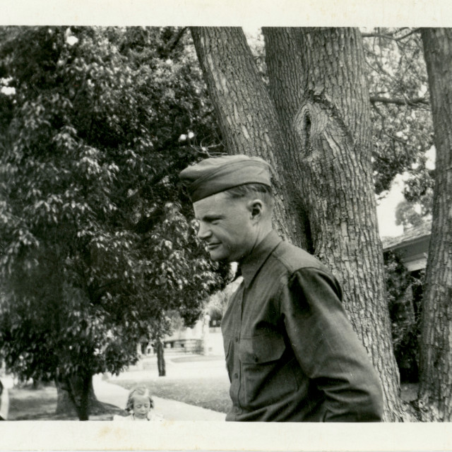 """""""Side profile of an unknown soldier, April 26, 1942, Orange California"""" stock image"""