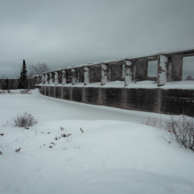 """Old hydro dam in winter"" stock image"