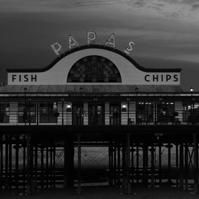 """""""Evening colours, Cleethorpes Pier, Cleethorpes town, North East Lincolnshire;..."""" stock image"""