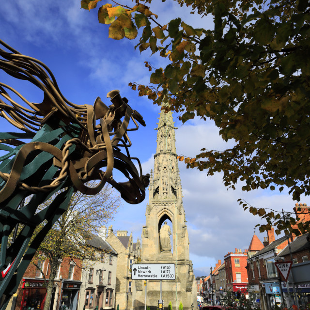 """""""The Handley Monument, Sleaford market town, Lincolnshire, England, UK"""" stock image"""