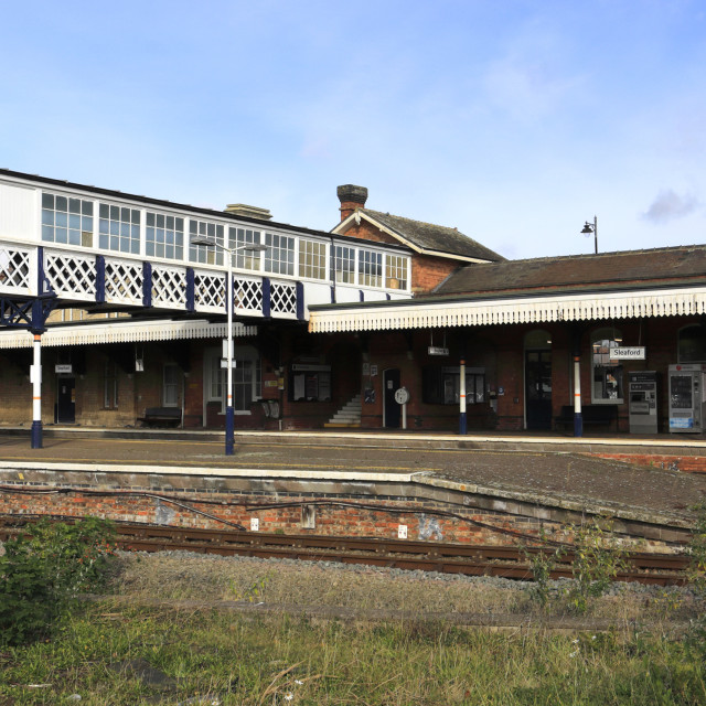 """""""View of Sleaford railway station, Sleaford town, Lincolnshire; England; UK"""" stock image"""