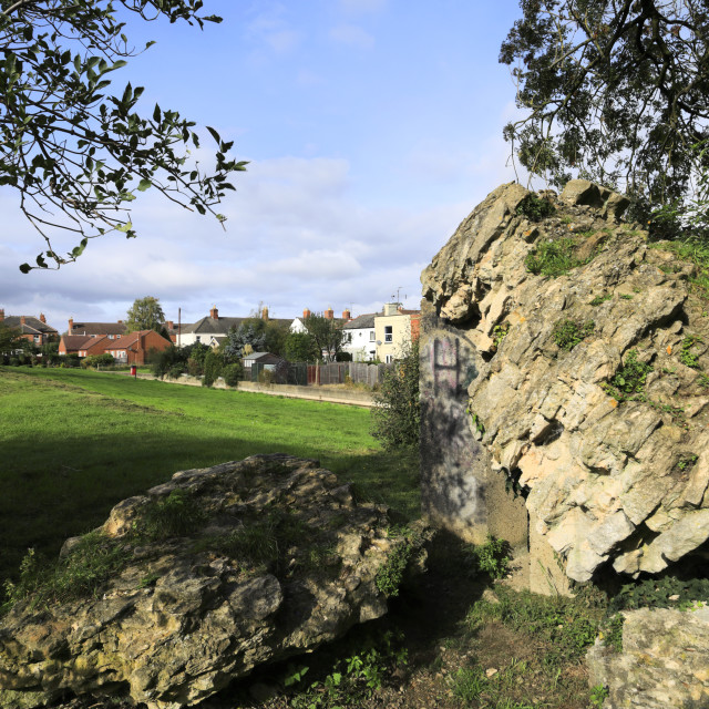 """""""Autumn view over Sleaford Castle, Sleaford market town, Lincolnshire,..."""" stock image"""