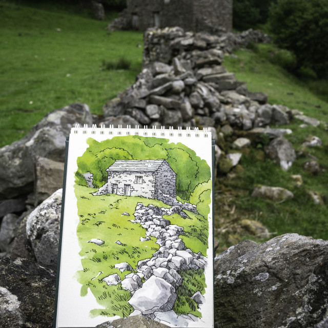 """""""Sketching in Yorkshire"""" stock image"""