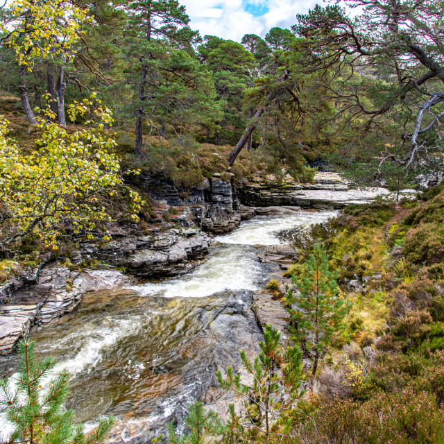 """Linn o' Dee Looking Downstream"" stock image"
